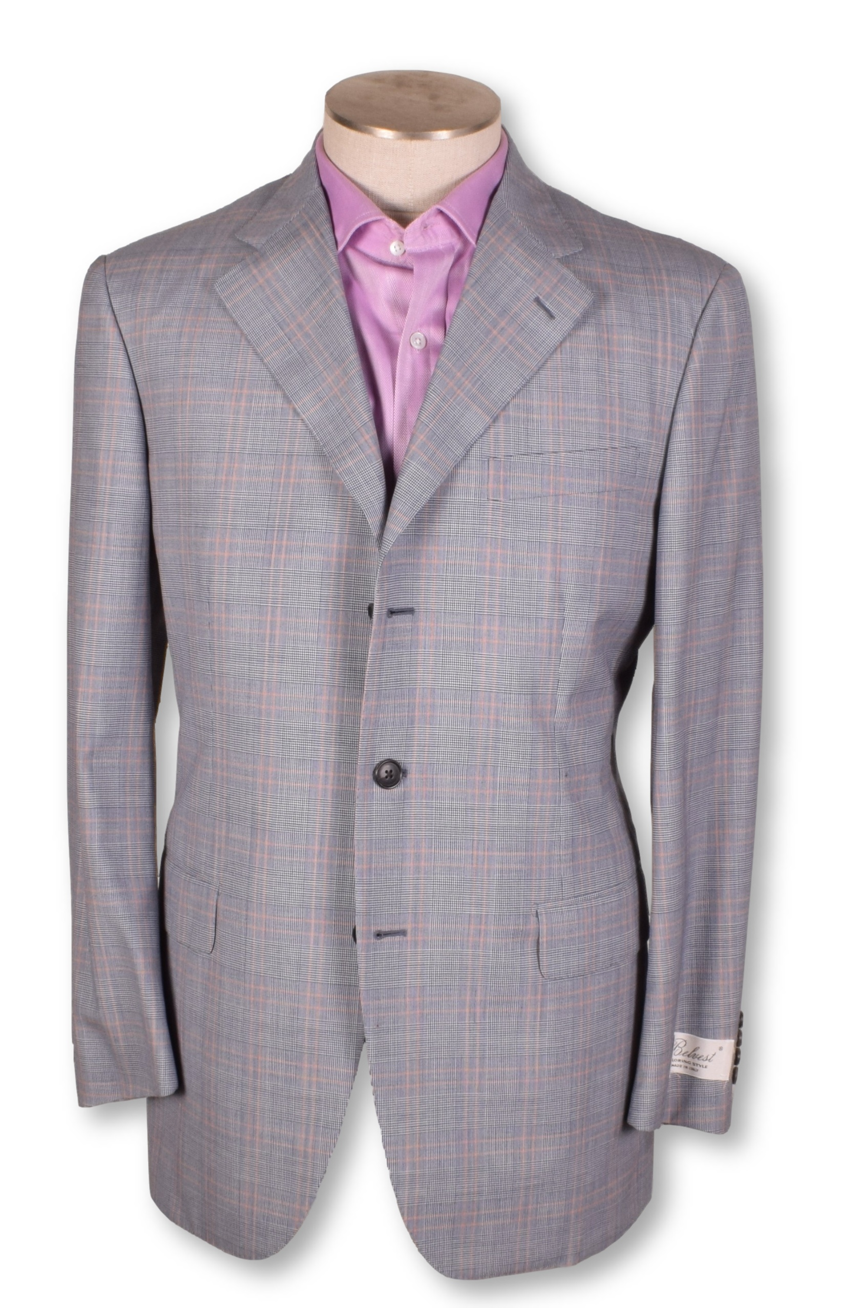 New NWT Belvest Pink Plaid Two Button Single Vent Pure Cashmere Sportcoat 40 40r