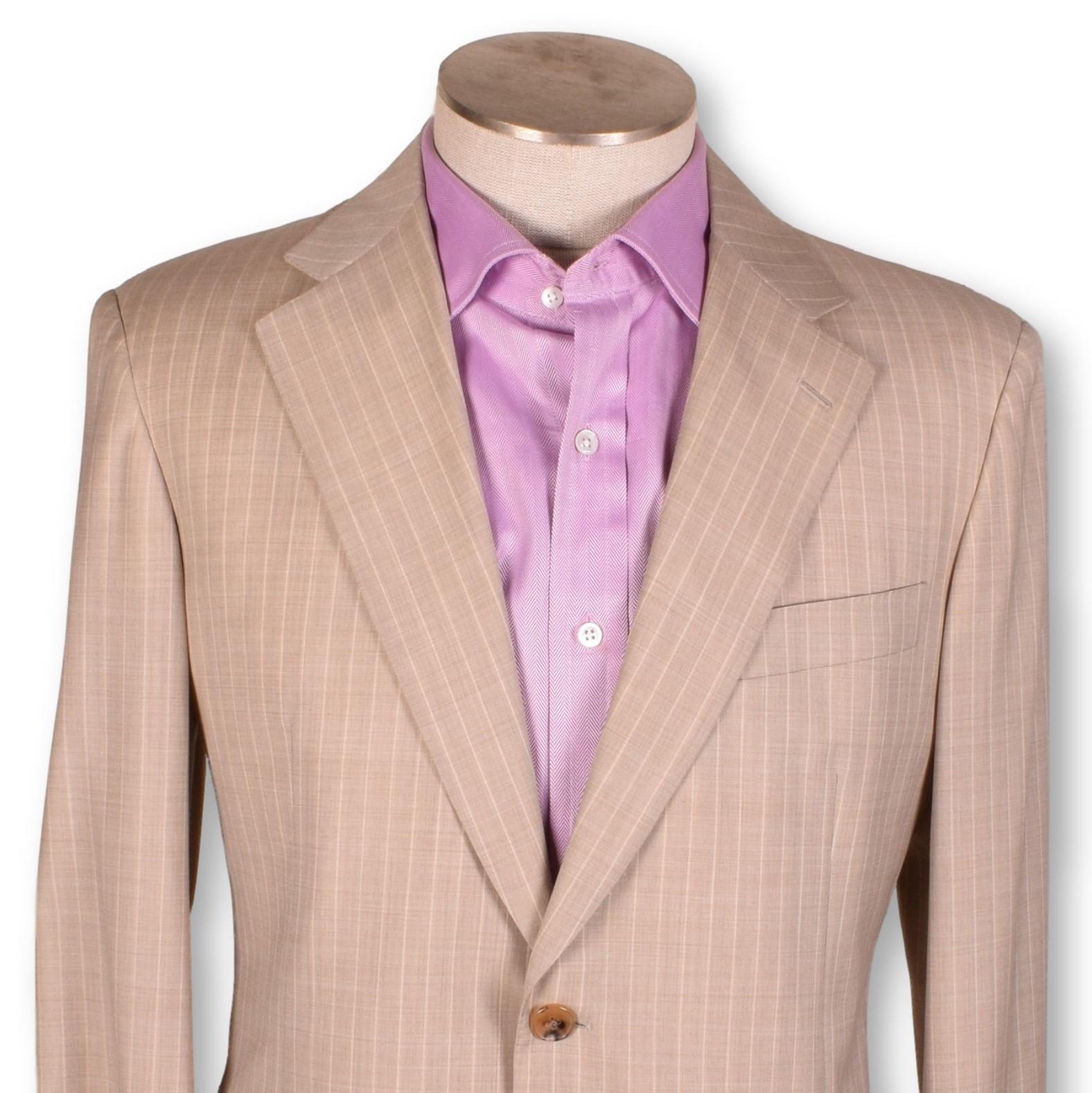 NWT Belvest Tan Cotton Center Vent Two Button Peak Lapel Sportcoat 40 40R